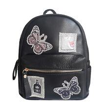 zaino zainetto donna eco pelle borsa backpack vintage patch ricami nero 2018