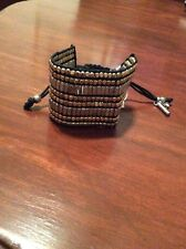 $32 Kenneth Cole Two Tone SEED BEAD Beaded Black Cord Pulley Bracelet 30A