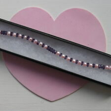 """Beautiful Silver Bracelet With Amethyst And Pink Pearls 8""""12 Inch Long  In Box"""