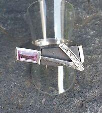 Designer Ring mit Rosenquarz, Zirkonia und schwarzem Stein 925 Silberring selten