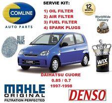 FOR DAIHATSU CUORE 0.85 0.7 1997-1998 OIL AIR FUEL FILTER + SPARK PLUGS SERVICE