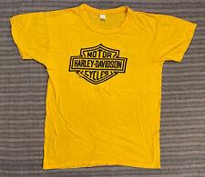 VTG 1970s Harley Davidson T Shirt Golden Yellow Neidengard's Ohio Shop Moto MED