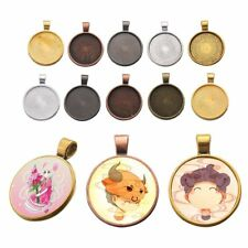 10pcs 25mm Necklace Pendant Cameo Cabochon Blank Bezel Tray Base Setting Crafts