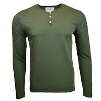 Men's Henley Long Sleeve Shirt -ZW- Slim Fit -Pullover Button Blouse-OLIVE GREEN