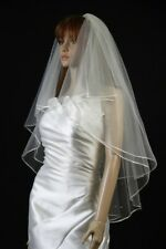 Bridal Veil White2 Tiers Fingertip Length Satin Cord Edge Scattered Faux Pearls