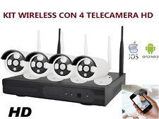KIT VIDEOSORVEGLIANZA WIRELESS DVR WIFI NVR 4 CANALI 4 TELECAMERA IP hd HD LAN
