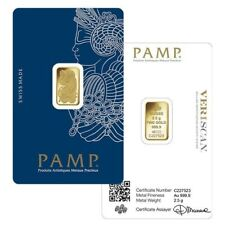 Gold Bar 2.5 grams PAMP Lady Fortuna Gold Bullion 2.5 gr for INVESTMENT or GIFT