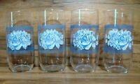 SET OF 4 - ARCOPAL HONORINE - 16 OZ  BLUE FLORAL GLASSES TUMBLERS - EUC