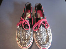EUC! SPERRY WOMENS SEQUINED BOAT SHOES BLACK/WHITE 6.5M