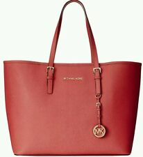 New~ Michael Kors Leather Jet Set Travel Tote Watermelon red Medium Shoulder