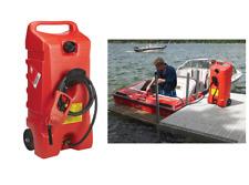 14gal Fuel Caddy Storage Dispensing Gas Pump Wheeled Unit 10 Hose Dual Shutoffs