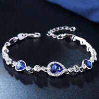 Women Fashion Ocean Blue Austrian Crystal Heart Bangle Bracelet Jewelry Gift Hot