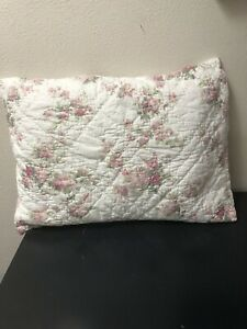 Simply Shabby Chic Pillow Sham Pink Rose Floral Hand Quilted  EUC