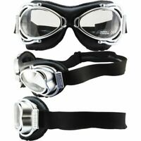 NANNINI STREET FIGHTER HAND-SEWN BLACK LEATHER GOGGLES SILVER FRAME SMOKE LENS