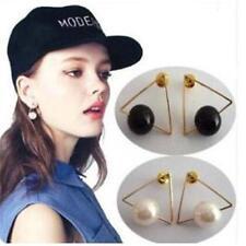 Women triangle Gold Plated White/Black Freshwater Pearl Stud Earrings Jewelry WW