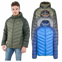 Trespass Rusler Mens Down Jacket with Hood Warm Puffer in Green Navy & Grey