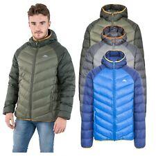 Trespass Rusler Mens Down Jacket with Hood Warm Puffer in Green Navy & Grey