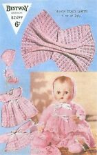 "Knitting Pattern Doll Clothing Layette For 16"" Baby Doll 7 Piece Outfit"