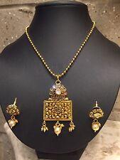 UK Indian Gold Plated Necklace Earring Set Ethnic Jewellery Bollywood Kundan
