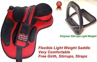 Synthetic English Treeless Horse Saddle  + free stirrups and Girth Many Collars