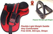 Synthetic English Treeless Horse Saddle  + free stirrups and Girth Many Collars