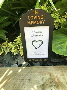 Sister In Loving Memory Plastic Spike Photo Frame Memorial Graveside Crematorium