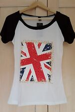 Ladies Women T-shirt with British Flag, Size S, New with tags