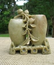 New ListingDecorative Antique or Vintage Chinese Carved Jade Floral Vase