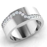 14K Oro Bianco da Uomo Fidanzamento Anelli 0.31 KT Vero Diamante Fascia Taglia