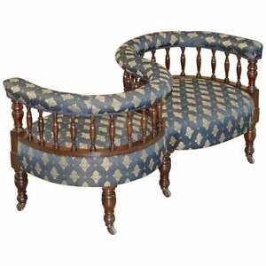 SUBLIME ORIGINAL ANTIQUE VICTORIAN 1860 TETE A TETE LOVE COVERSATION SOFA SEAT