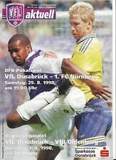 Fußball Programm: VFL OSNABRÜCK - 1.FC NÜRNBERG 29.08.1998, DFB Pokal 98/99