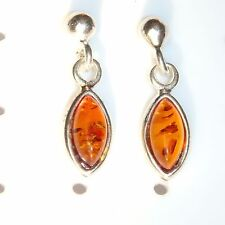 Drop Earrings 925 Sterling Silver Natural Baltic Amber 18 x 5 mm, 1.99 grams