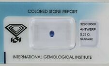 Sealed 0.23ct Untreated Blue Sapphire Oval Mixed Cut Certificated REF:55