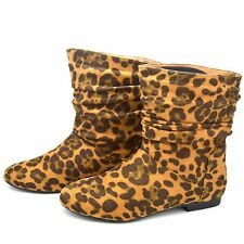 WOMENS LADIES LEOPARD SUEDE FLAT SHOES PULL ON CHELSEA RIDING ANKLE BOOTS FB-490