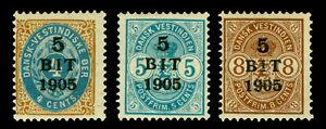 DANISH WEST INDIES  1905 Coat of Arms  - SURCHARGED set  Sc# 40-42  mint MH