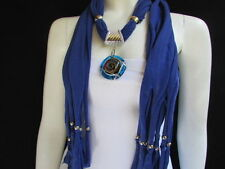 WOMEN BLUE SOFT FABRIC FASHION SCARF LONG NECKLACE BIG ROUND GLASS SWIRL PENDANT
