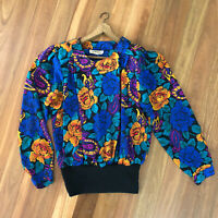 Bright 80's Vintage Top / Sweatshirt Floral Ken Done Style   6-8 Colourful Arty