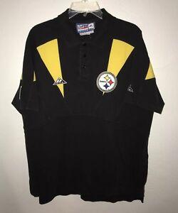 Vtg Pittsburgh Steelers ProLine Apex Mens Polo Shirt Large Retro Black Gold NFL