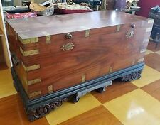 Antique Anglo-Indian Raj Period Colonial India Mughal Chest Trunk on Frame HUGE