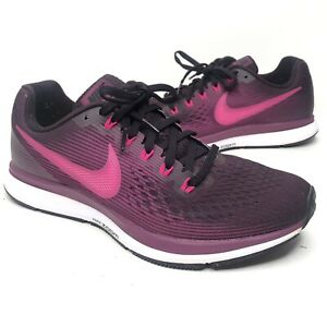 Nike Womens Air Zoom Pegasus 34 880560-603 Purple Running Shoes Lace Up Size 8.5