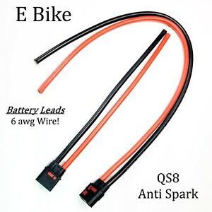 """E BIKE Battery Leads QS8 6 awg Leads 1 Female 25"""" Wire & 1 Male 12"""" Wire"""