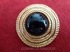 """Clip Foulard """"Rond Cercles Torsades"""" doré Etages Noir - Bijoux Vintage Sphinx"""