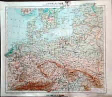 Carta geografica antica EUROPA CENTRALE GERMANIA POLONIA ecc. 1926 Antique map
