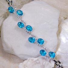"16Ct London Blue & White Topaz Victorian Style Silver Bracelet 7"" Gbr198"
