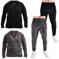 Men Zip Up Hoodie Fleece Soft Velvet Top Jacket Jogger Trouser Bottoms Tracksuit