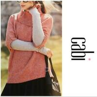 NEW CABI 3011 Foldover Pullover Sweater Orange Oversized Dolman Sleeve Modern M