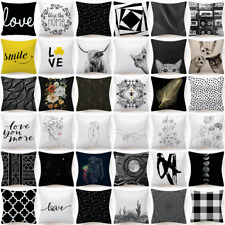 "18x18"" Black White Throw PILLOW COVER Double-Sided Decorative Soft Cushion Case"