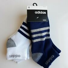 Adidas 6 Pair Men's Low Cut Aeroready Shoe Sz 6-12 Blue Grey White