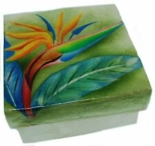 Kubla Crafts Capiz Shell Bird of Paradise Trinket Jewelry Gift Change Box
