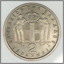 Greece King Paul 2 Drachmas 1962 High Grade KM#82